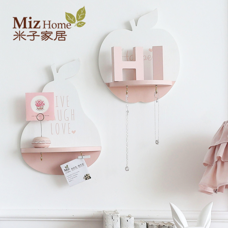 Miz Home 1 Piece Pink Wooden Creative Wall Hanging Shelf Flowerpot Rack Storage Holder Home Bedroom Decoration ANN010015(China (Mainland))