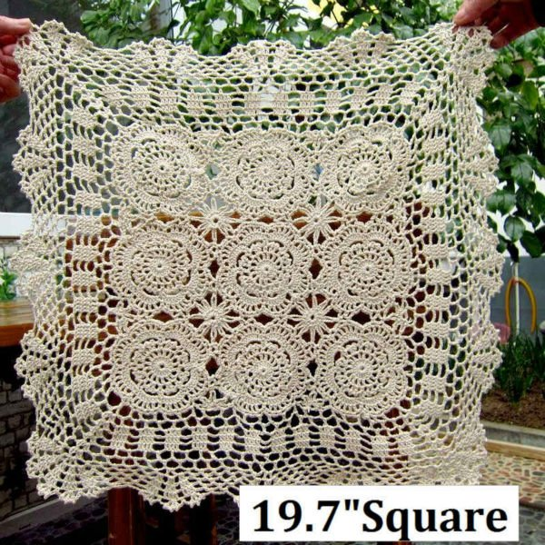"19.7""Square (50CM),Corcheted Lace Table linen, Tablecloth ,Free shipping! ART.NO.0869(China (Mainland))"