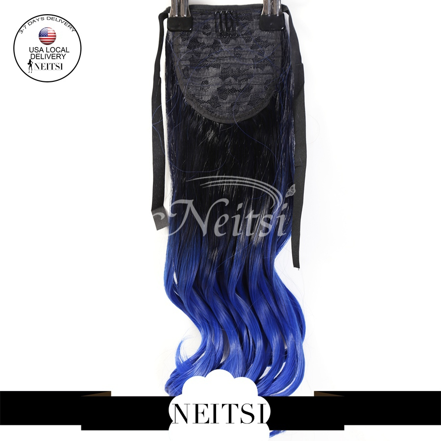 22inch Fashion Christmas Gift Synthetic Ponytails Cheap Price Long Clip In Hair Body Wave Curly Extensions Blue Ombre Colored(China (Mainland))