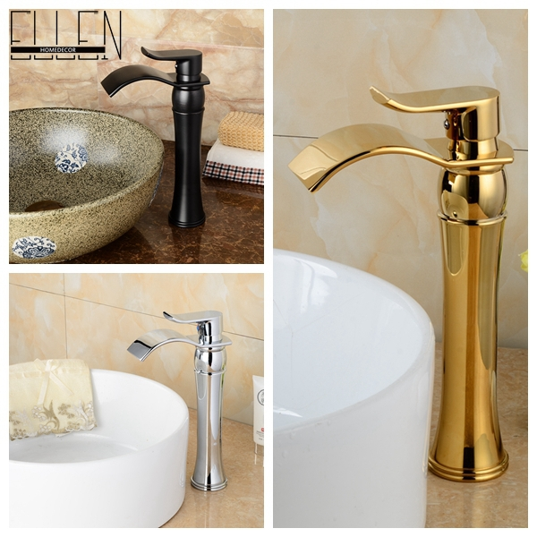 Tall bathroom waterfall wash basin faucet chrome oil rubbed bronze gold finish sink tap bend spout mixer(China (Mainland))