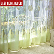 BHD drapes embroidered tulle sheer window curtains for living room the bedroom modern tulle curtains sun floral fabric blinds(China (Mainland))