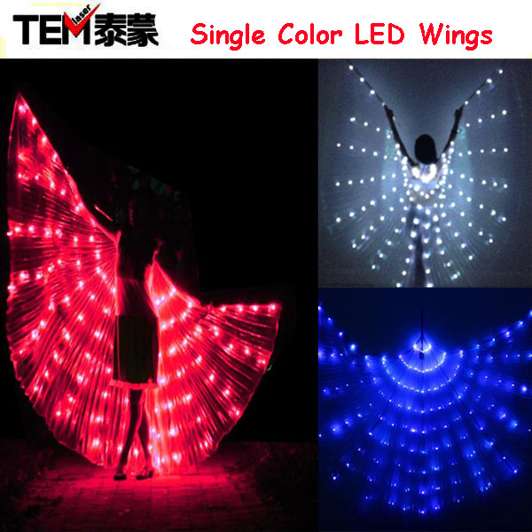 New 2016 Fashion Light Wing Led Costume Single Color Wings DJ Wing Girls Dance Costumes(China (Mainland))