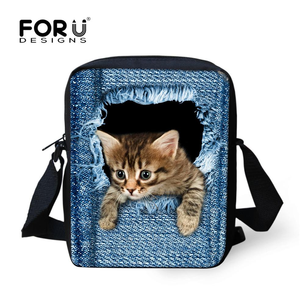 FORUDESIGNS Cute Pet Dog Cat Print Denim School Bags For Girls,Animal Schoolbag Student Kids Boys Bookbags Children Mini Mochila