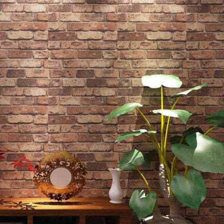 Natural rustic red brick stone wallpaper vintage 3d effect Red brick wallpaper living room