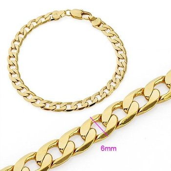 Fashion Jewelry Bracelet ,6mm Chain 18K Yellow Gold Filled Formal Men Bracelet ,B98 18K Gold Bracelet ,Gold Bracelet