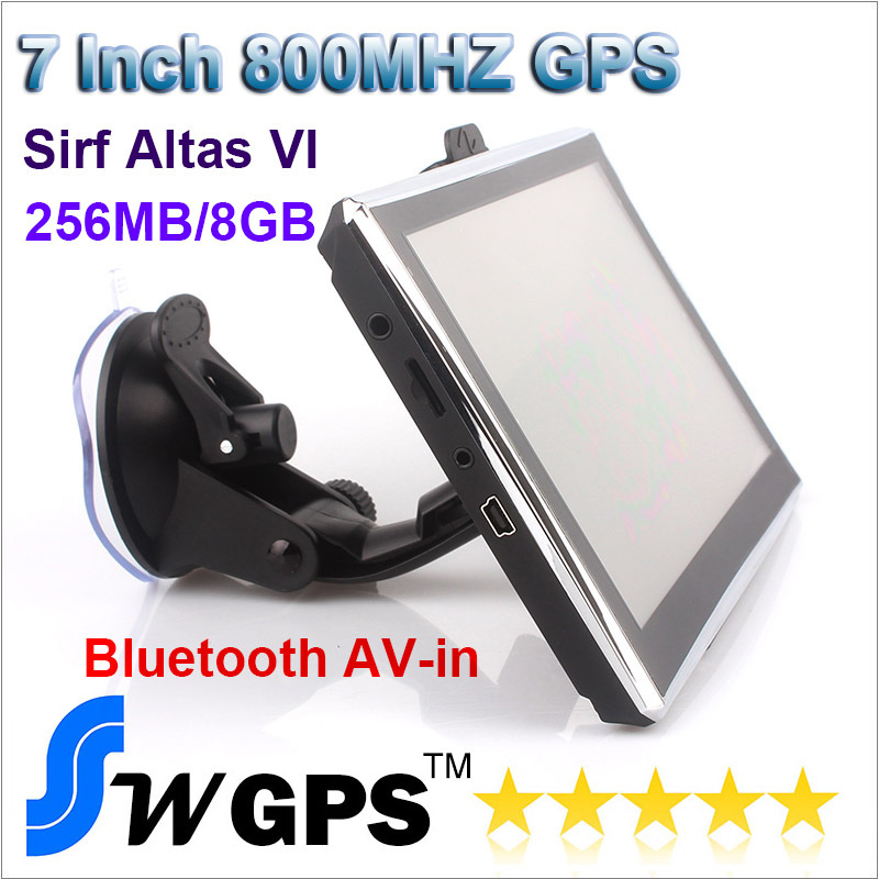 7 inch Car Gps Navigation,SIRF Atlas VI 8GB 256MB DDR3 wince6.0, Bluetooth, AV-IN, 800MHZ with US Europe Australia world maps(China (Mainland))