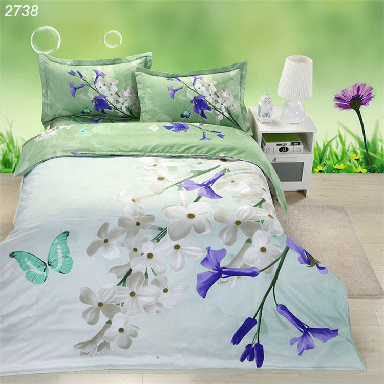 White blue flower butterfly green 3d bedding sets bed linen queen comforter cover set bed 3d bedding patchwork quilt cover 2738(China (Mainland))