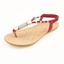 New summer retro women leather uppers chic flat shoes fashion rome style t strap woman sandals