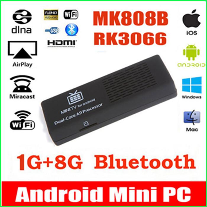 2015 MK808B MK808 Android 4.4.2 HDMI TV Stick TV Dongle RK3066 Dual Core 1GB 8GB Mini PC Android Bluetooth XBMC for mini pc(China (Mainland))