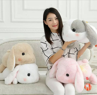 48cm One Piece New Cute Kawaii Long Ear Big Head Sleeping Rabbit Doll Plush Toys PP Cotton Pillows Girl's Gift(China (Mainland))