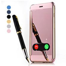 Полный защитный телефон чехол для iPhone 6 чехол роскошный вид окна зеркало + кожаный кожи коке для iPhone 6 s / 6 плюс 5S телефон покрытия