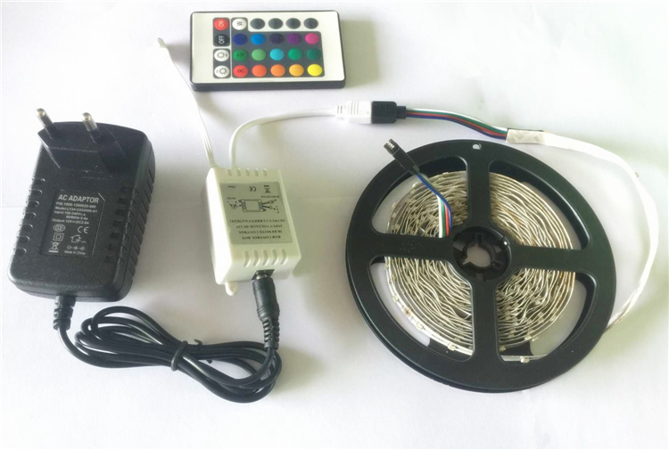 Free Shipping 40% off 5M 3528SMD 300Leds RGB LED Strip + 24Key IR Remote Controller + 12V 2A Power Adapter Flexible LED Light(China (Mainland))