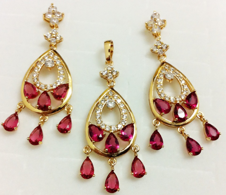 1set 14K rose gold filled red ruby cubic zirconia luxuriant woman necklace+pendant+earring Jewelry set Accessoies - ANN' Shop store