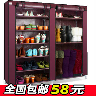 Cotton-made shoes cabinet boots shoes cabinet easy folding combination shoes rack storage cabinet zipper fabric