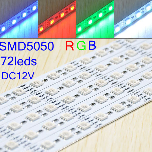 free shipping, 20pcs/lot,waterproof,RGB ,72leds 5050 smd led rigid strip light , U style, transparent cover ,1m/pc, by DHL/EMS<br><br>Aliexpress
