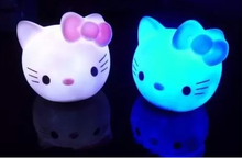 2014 Hot Sale New Colors Changing Kitty LED Night Light Decoration Candle Lamp Nightlight,great gift for kids(China (Mainland))
