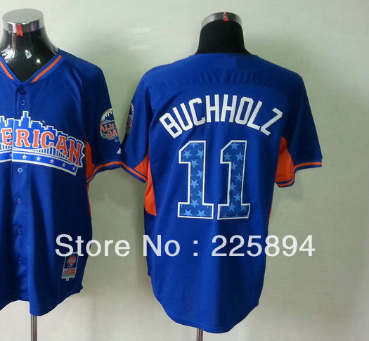 Free Shipping Top Men's 2013 All Star Game American Baseball Jersey #11 Clay Buchholz Blue Jersey all stitched Embroidery logos(China (Mainland))