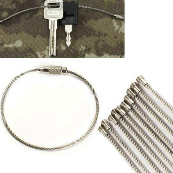 Free Shipping Hot Sale 10PCS Stainless Steel Wire Keychain Cable Key Ring for Outdoor Hiking(China (Mainland))