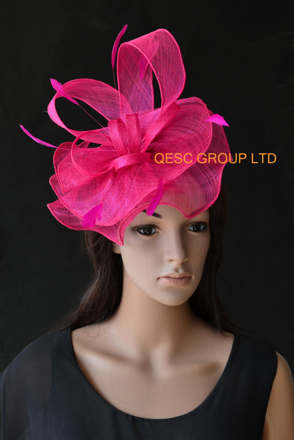 Hot pink sinamay fascinator hat kentucky derby hat for Tea Wedding,Races.(China (Mainland))