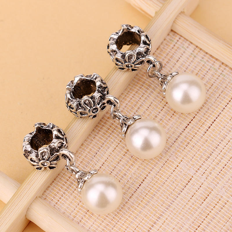 1PCS New Silver Plated Bead Charm Antique pearl simulated Pearl Pendant Beads Fit Pandora Bracelet & Bangle DIY Jewelry(China (Mainland))