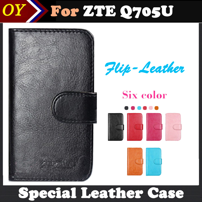 ! 6 Colors ZTE Q705U Case Dedicated Flip Leather Customize Phone Cover Case Card Wallet Business Free Shipping(China (Mainland))