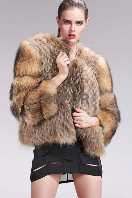Lady Genuine Natural Raccoon Fur Coat Jacket Winter Women Fur Outerwear Coats Three Quarter Sleeve Garment QD27577A