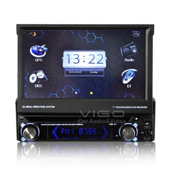 Car Stereo Single ONE DIN GPS Navigation with Detachable Panel Multimedia Headunit Sat Nav Autoradio Bluetooth A2DP iPod Radio