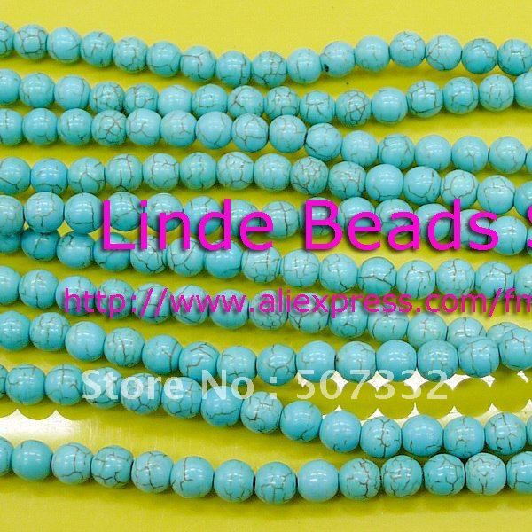 Free shipping(China Post Air Mail) 600pcs 6mm thread turquoise round beads in wholesale(China (Mainland))