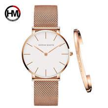 Reloj para mujer 1 Juego de pulsera Japón movimiento de cuarzo Simple resistente al agua oro rosa Acero inoxidable malla reloj para mujer(China)