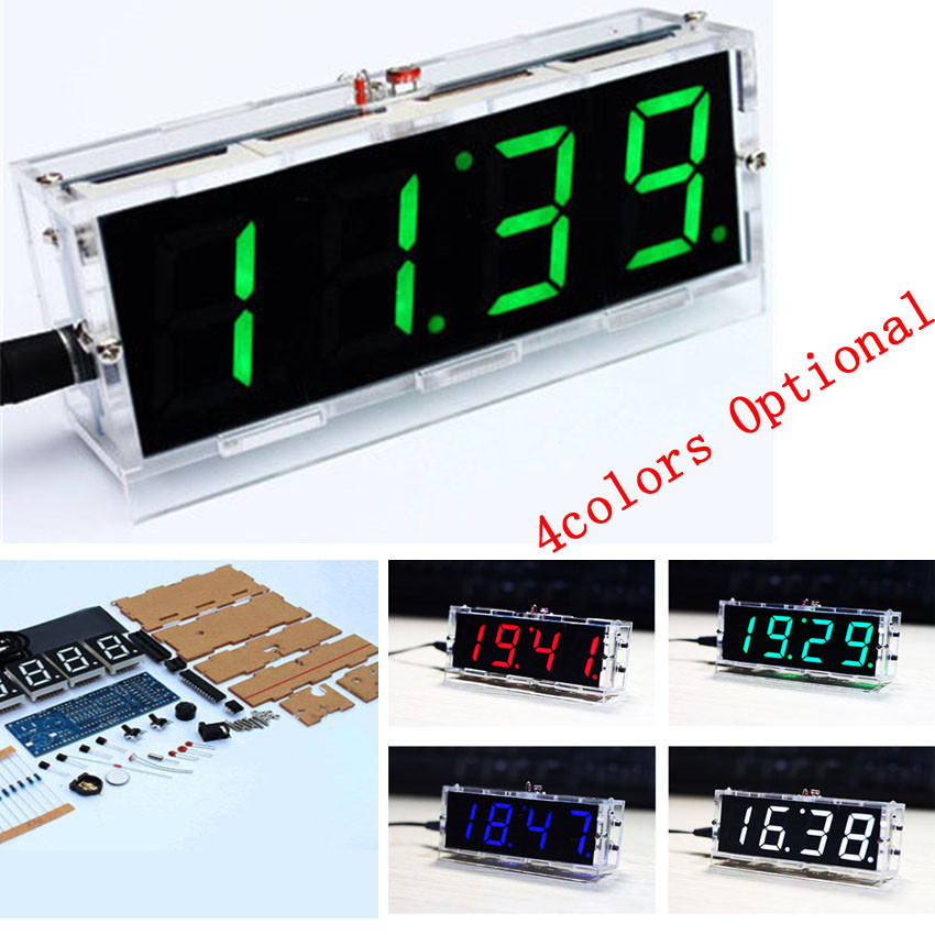 DIY clock Digital clock production suite voice timekeeping clock parts LED DIY SCM training electronic watch 4colors (optional(China (Mainland))
