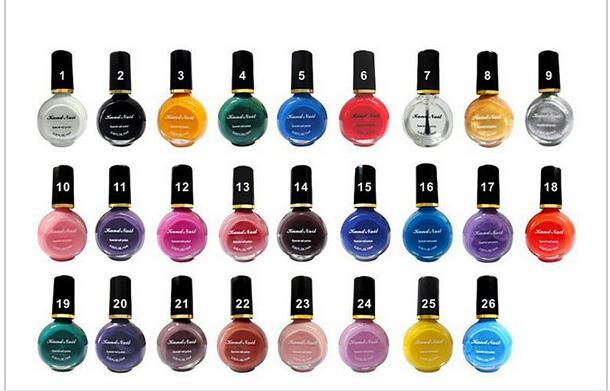 High quality 26Colors to choose 1 bottles Professional Painting Konad Nail Varnish Manicure UV Nail Polish Gel For Nail Art(China (Mainland))