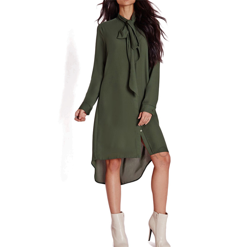 Women army green neck bow tie long shirts stand collar long sleeve loose blouses Blusas Femininas casual bow tie tops LT739(China (Mainland))
