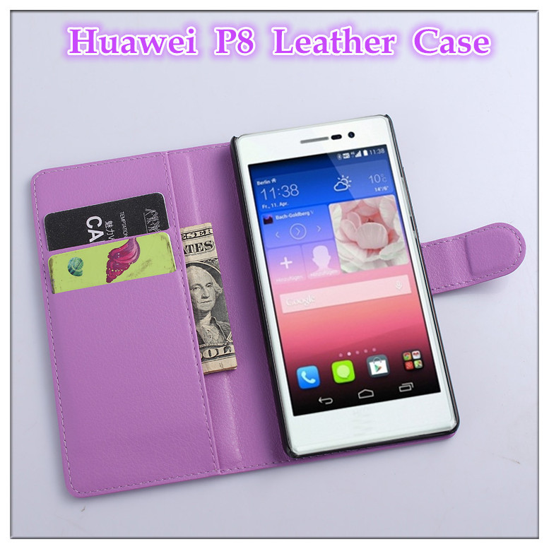Huawei P8 cover case Luxury litchi texture leather Ascend flip wallet style stand function - BOSO Technology Co., Ltd (ShenZhen store)