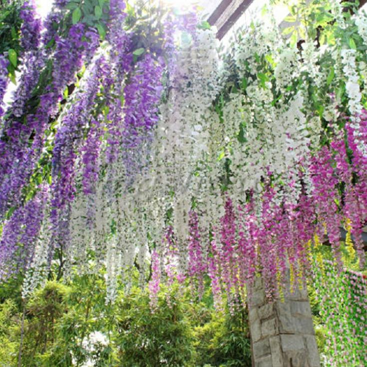 Hot Sale Artificial Flower Wisteria Home Garden Hanging Flowers Vine Wedding Plant Decor Drop Shipping HG-0984(China (Mainland))