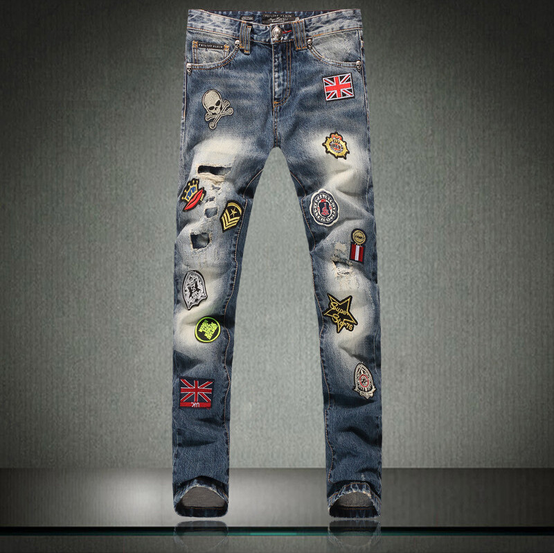 Фотография Fashion Mens Biker Jeans Patchwork Hip Hop Washed Distressed Skinny Denim Biker Jeans For Men Plus Size 28-40