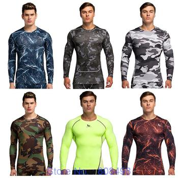 Men compression shirt base layer skin Fitness Excercise soccer football running shirts underwear tights jersey