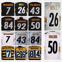 100% stitched Men's #7 Ben #43 Troy #50 Ryan #84 Antonio #26 LE'VEON #83 Heath #92 JAMES black and white elite jerseys(China (Mainland))