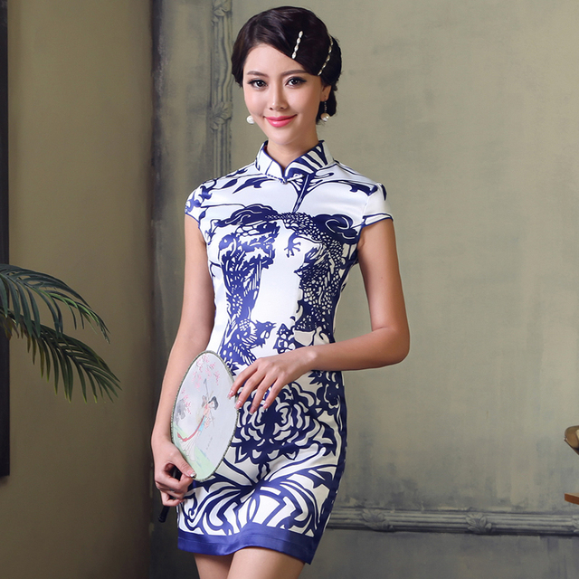 Porcelain 2013 summer sexy cheongsam fashion women's vintage print cheongsam dress g611512