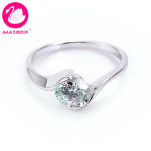 Platinum Plated Bezel Setting 0.9 CT Round Brilliant Cut Grade AAA Solitaire CZ Diamond Wedding Ring (10103) FREE SHIPPING(China (Mainland))