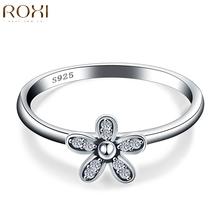 ROXI Роскошные Стерлингового Серебра 925 Ювелирные Изделия Цветок Палец Кольцо, двойное Сердце Кольцо Обручальное Свадьба Кольца для Женщин(China (Mainland))