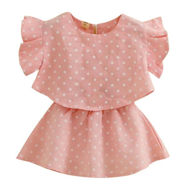 Factory Price! New Girl's Sweet Pleated Sleeve Polka Dot Skirt Set Cloth Children T-Shirt+Skirt 2-7Y(China (Mainland))