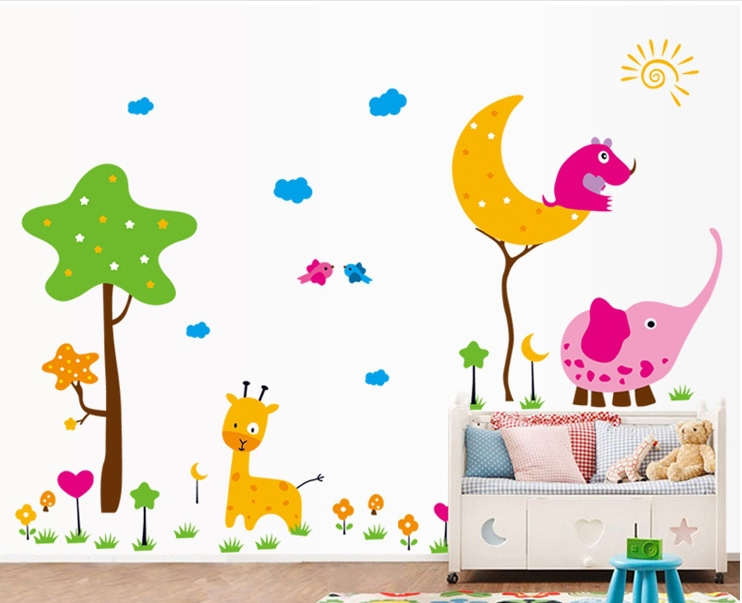 girls sweet moon stars tree wall stickers decals kids cartoon adhesive wallpaper mural chindren baby home bedroom nursery decor - My Butterfly store