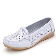 STQ 2019 ฤดูใบไม้ผลิผู้หญิงรองเท้าผู้หญิงรองเท้าหนังแท้รองเท้าผู้หญิง cutout loafers slip บนบัลเล่ต์แฟลต ...(China)