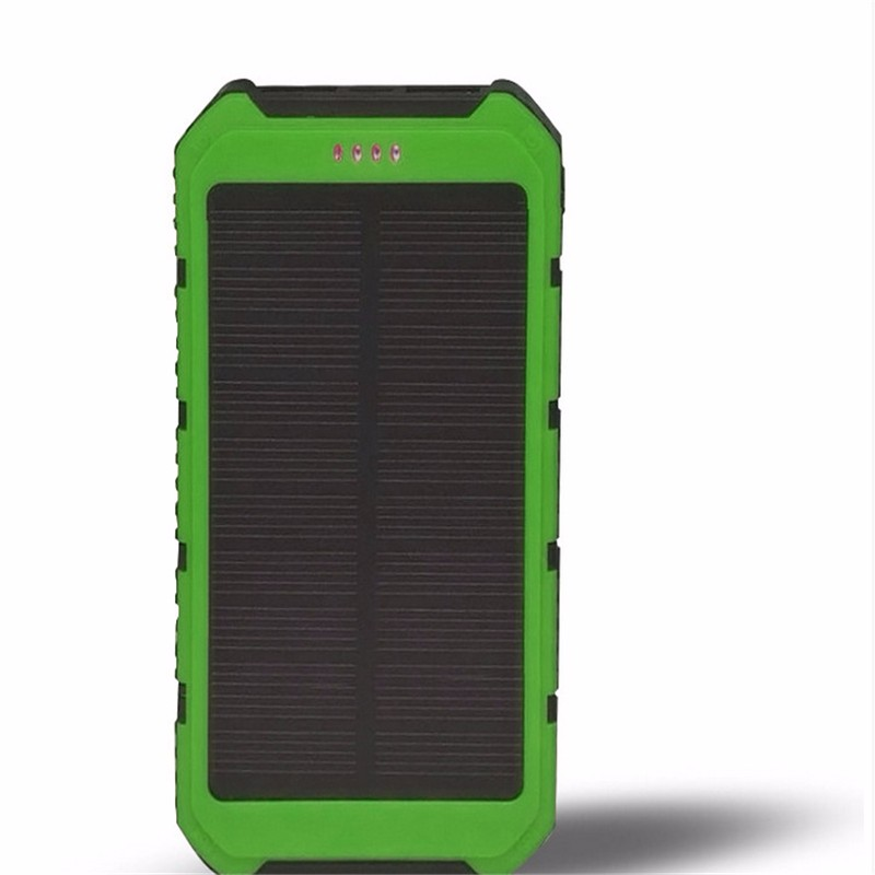 Portable Cellphone Solar Power Bank 10000 mAh DUAL USB Ports Shockproof Waterproof External Sun Energy Battery Charger