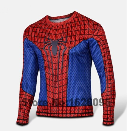 Men Marvel Gym Compression Shirt Long Sleeve T Shirt Superman/Batman/Captain America Running Fitness Quick Dry Tights Clothing(China (Mainland))