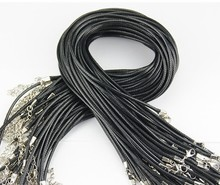 Free Shipping 1.5MM Black leather cord Bracelets with Lobster Claw Clasp and Extension Chain for Handmade Necklace 17 inches(China (Mainland))