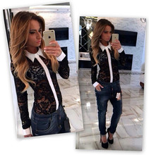 Fashionable Women Shirts 2015 Autumn Fashion Lace Female Perspective Blouses Hollow Out Long Sleeve Designer-Clothes-Cheap(China (Mainland))