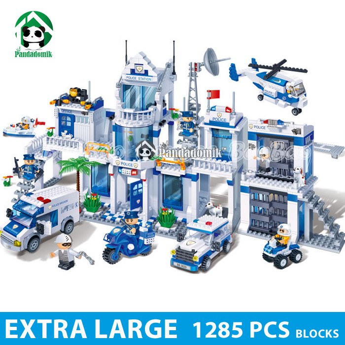 Extra Large Police Station 1285 Pcs Blocks Compatible with lego City Educational Toys for Kids Toys Hobbies(China (Mainland))