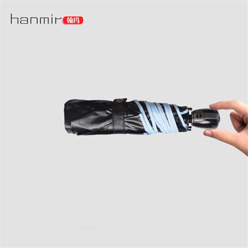 Hanmir Parasol auto Beach umbrella Anti UV 3 Folding Fully-automatic Sunshade Ultral-Light Mini umbrella Black Coating(China (Mainland))