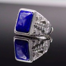 Large Lapis lazuli ring for man 10*14mm gemstone ring pure 925 sterling silver man ring classic jewelry gift for your man(China (Mainland))
